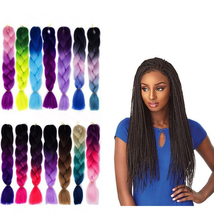 Ombre Crochet Braiding Synthetic Hair Jumbo Braids Hair Extensions High Temperature Ombre Synthetic 24 Inch 100g Braided Hair