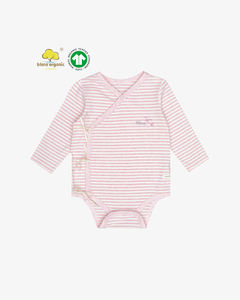 Baby kimono organic cotton romper with long sleeve color stripe fabric and ribbon-tie side