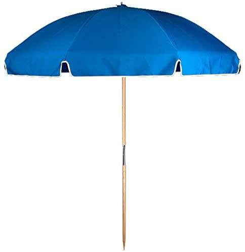 Cheap Wholesale Blue 7.5 Feet Commercial Fiberglass Ribbed Beach Umbrellas With Ash Wood Pole