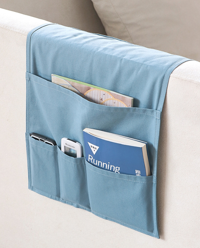 Natural White Cotton Canvas Sofa Storage Bag Remote Control Organizer