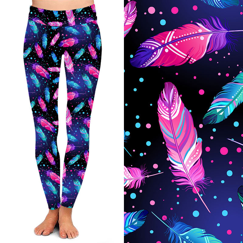 OEM Customized 2020 Allover variety Printed Feather Galaxy Super soft Brushed Leggings 3D Print Women Elastic Sexy Leggins