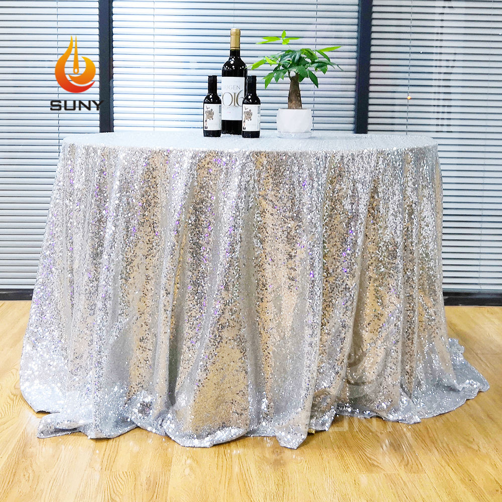 Custom Banquet Event Wedding Use Embroidery Glitz Sequin Tablecloth