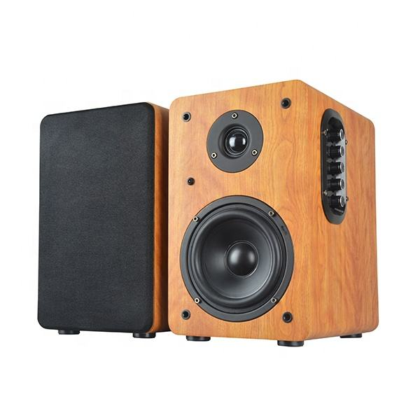 wooden MDF super bass treble USB SD MMC card wireless Hi-Fi blue tooth stereo 100W power output active bookshelf speaker
