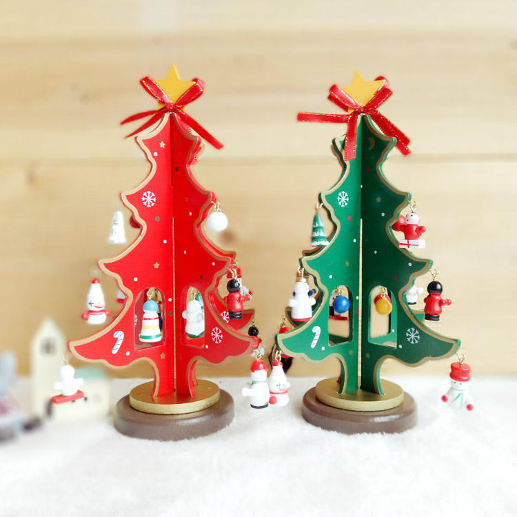 The factory Wholesale Christmas Window decoration DIY tree assembly MDF wooden tree decorations