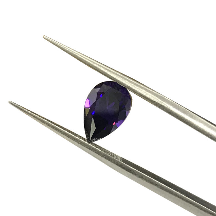 Dark amethyst CZ pear 6x9mm gemstone price synthetic cubic zirconia loose colored stone for ring jewelry