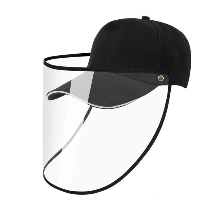 Removable anti saliva and anti droplet hats baseball hats with transparent front cover