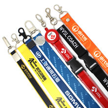 Factory custom cheap heat transfer printed polyester lanyard with sample free