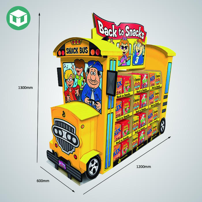 2019 New Custom Logo Promotion Corrugated Snack School Bus Shaped Cardboard Display Stand