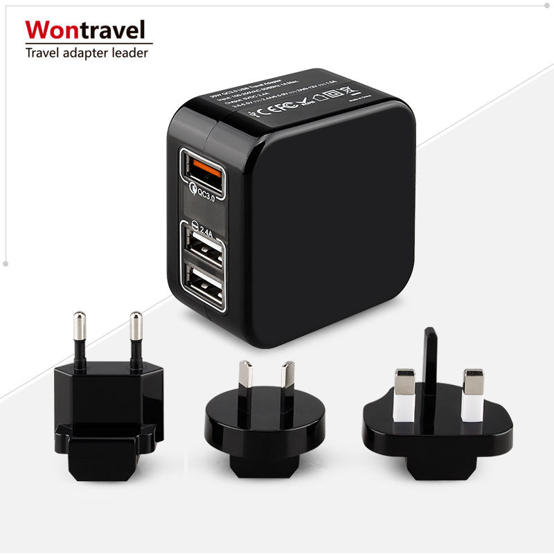Xách Tay QC3.0 USB Du Lịch Adaptor EU AUS Anh Mỹ Cắm Ổ Cắm Tường Charger AC Adapter