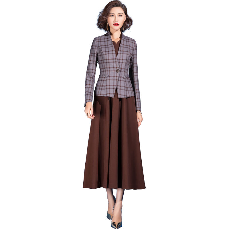 Women Fashionable Plaid Small Suit A-line Suit Skirt Two-piece Elegant Temperament Texture Suits