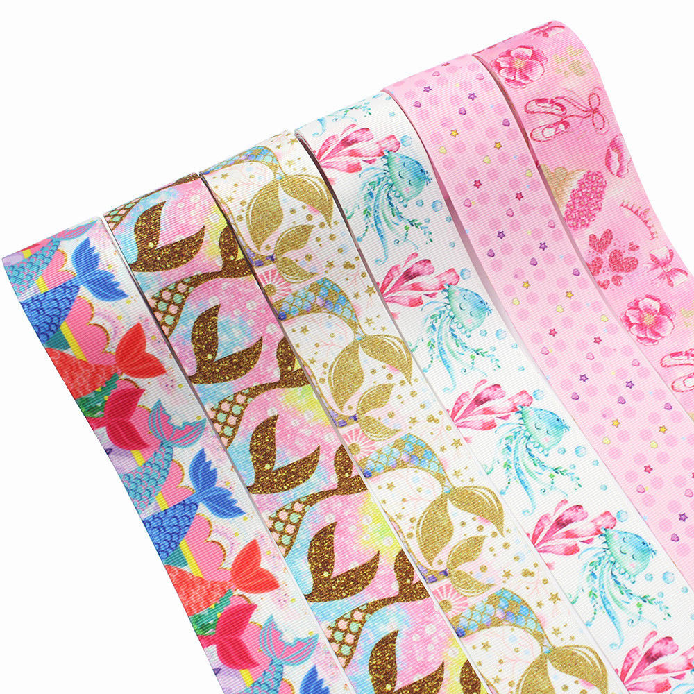 3.8cm Wide Custom Printed Grosgrain Ribbon For Decorating Jingle Bell Fashion Mermaid Ribbon Girl Shirt Accessories