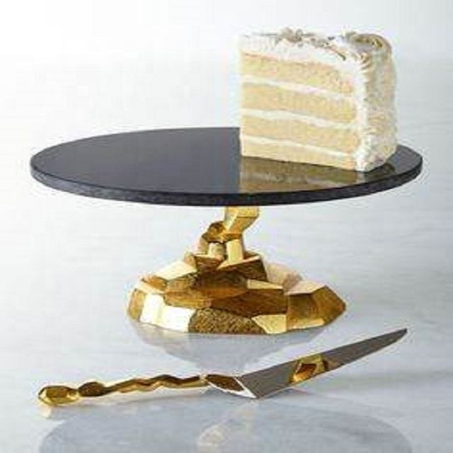 black marble top gold plated cake stand