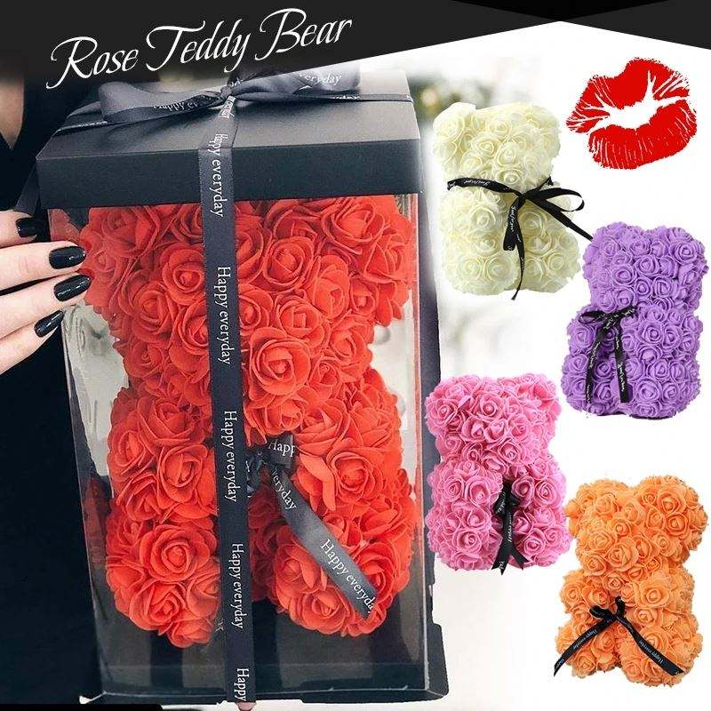 DIY 25センチメートルTeddy Rose Bear With Box Artificial PE Flower Bear Rose ValentineのDay For Girlfriend Women Wife MotherのDay Gifts