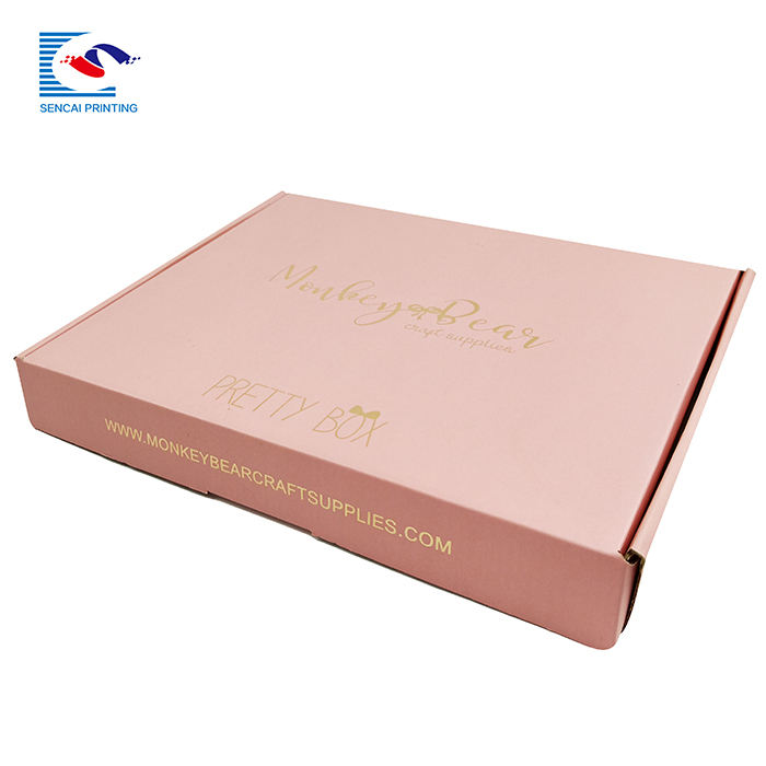 SENCIA wholesale custom design pink gold foil stamped dress packaging corrugated paper box