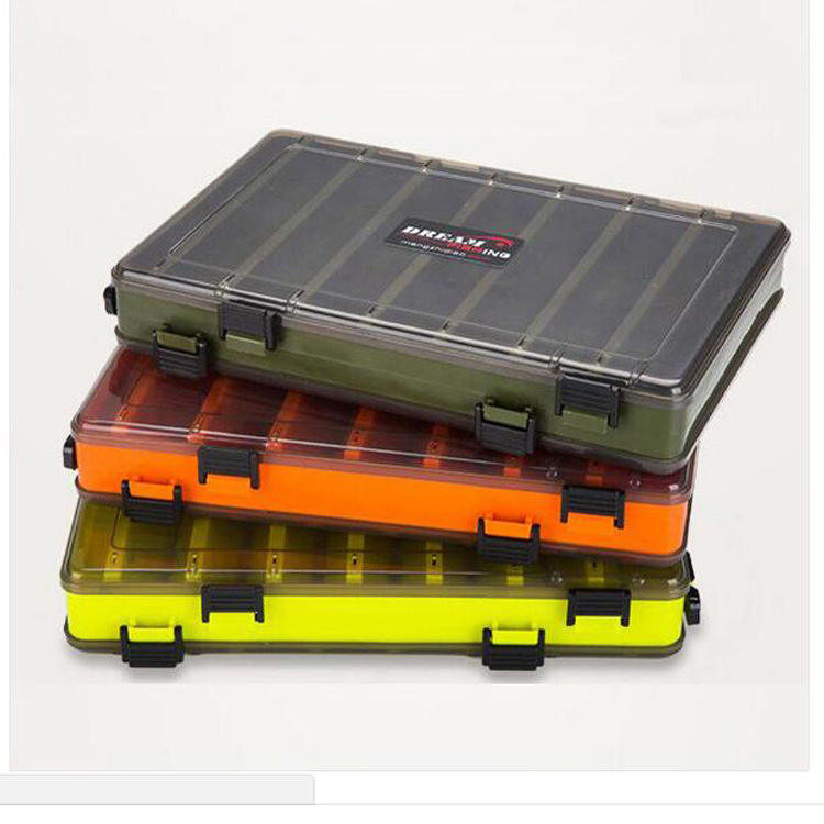 Amazon Hot Selling Waterproof Double Sided Visible Hard Fishing Tackle Container Fishing Lure Box with 14 Compartments