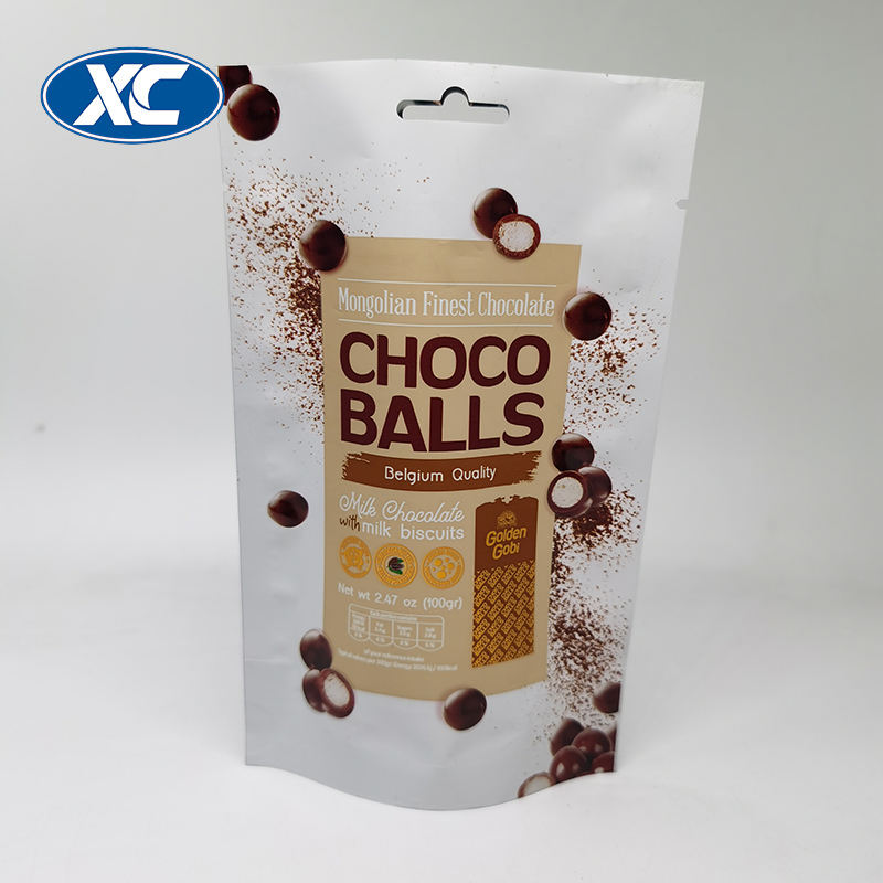 Custom printed heal seal plastic foil chocolate bean stand up packaging bag with easy tear