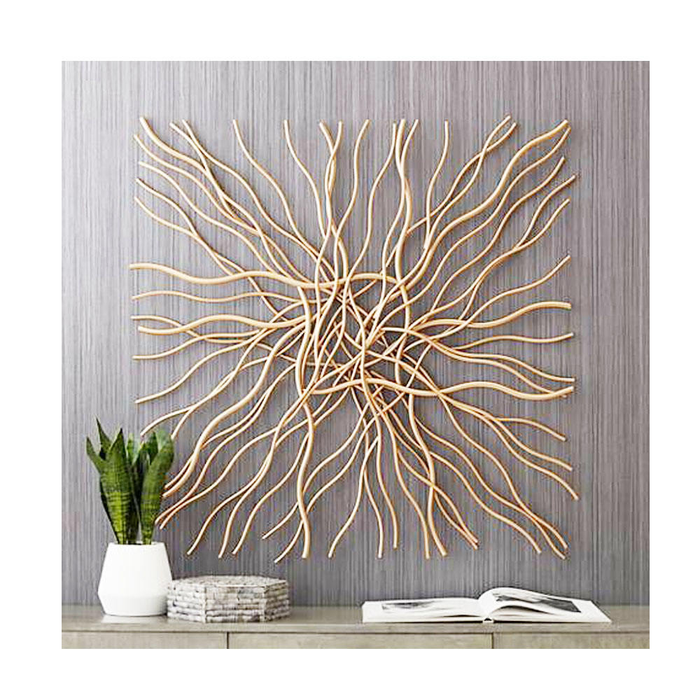 Gold Wire Iron Metal Luxury and Elegant Home Decor Wall Arts Indoor and Outdoor Decoration Direct India Factory Sale