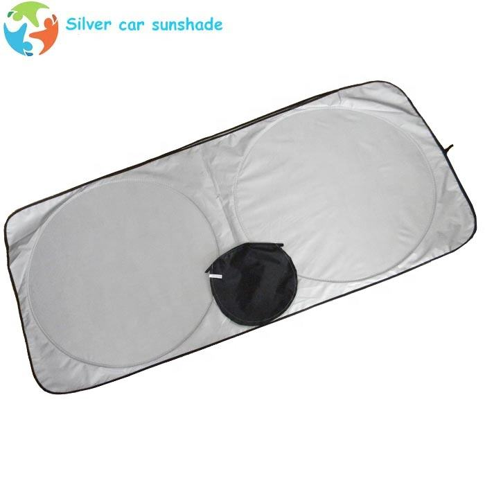 Advertising silk screen printing car window sunshade silver polyester car front windshield sunshade