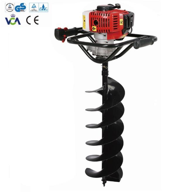 Gas ground post pole digger 2-stroke gasoline two-man handle soil drilling machine earth auger