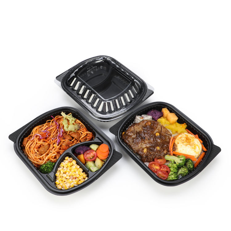 Meal Prep food Packaging 2 compartment Microwavable plastic food container with Lid take out Disposable Lunch bento Box