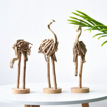 A set of 3 Pieces Wooden Home Bedroom Indoor Party Decorations Nordic Driftwood Hand Made Flamingo