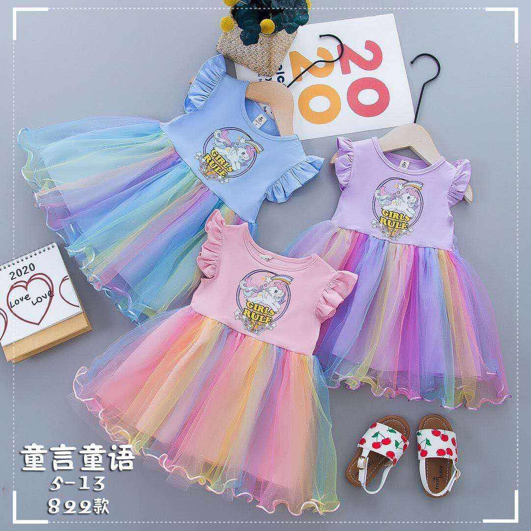Infant Toddler Clothing Dress Unicorn Printed Top & Tutu Skirt Tulle for 1-5 years Children Clothes