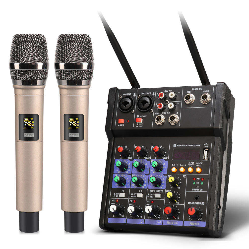 UHF wireless microphone 4 channel DJ Mixer live MP3 studio Mini KTV Audio mixer USB sound mixing console