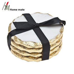 Housewarming Gift Luxury D10cm White Marble Coasters with Gold Edges set of 4