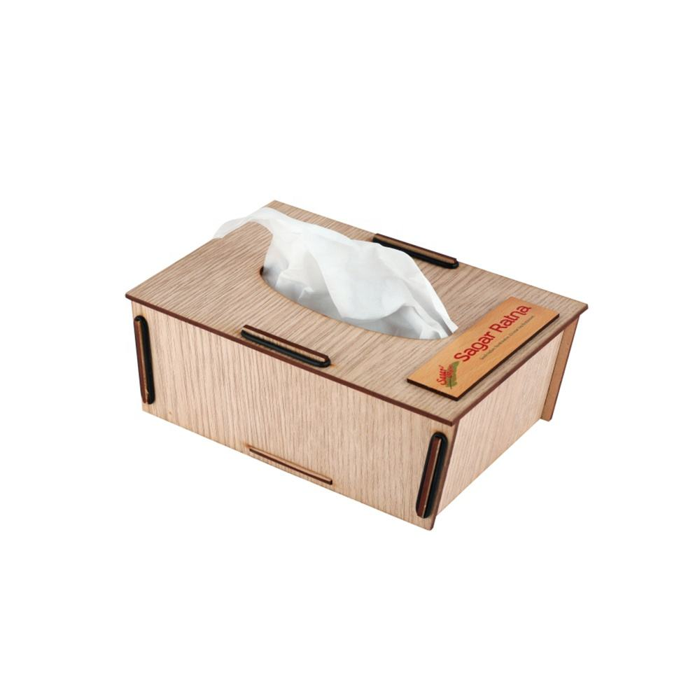 Tissue Box Custom Logo Wood Gift Box Corporate Gift Premium Items Promotional Customize Gift