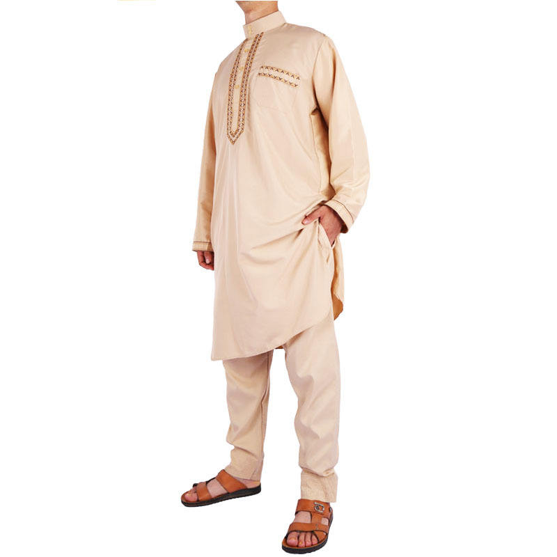 Ali Musulmane internationale vêtements homme Ababalaya homme Col Rond Manche Longue Uni Saoudien Thobe Arabe