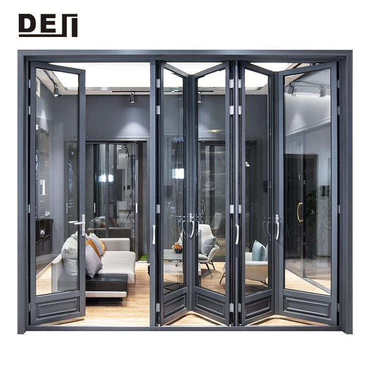 Building Material Powder Coating Aluminium Profile Double Glazing Folding Glass Door