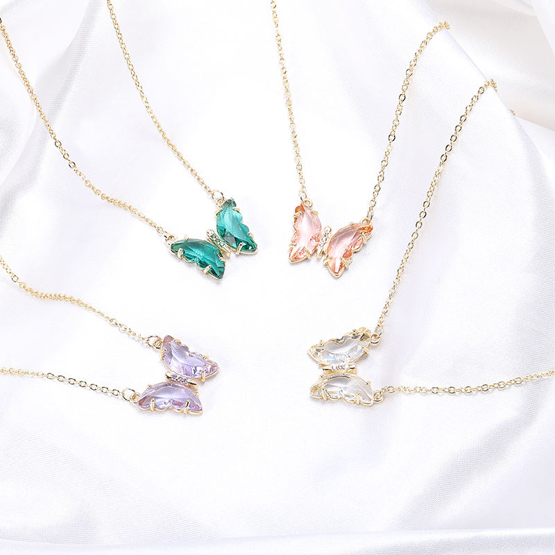HOVANCI New Creative Real Gold Plated Green Glass Butterfly Necklace Clear Crystal Butterfly Necklace For Women Gift