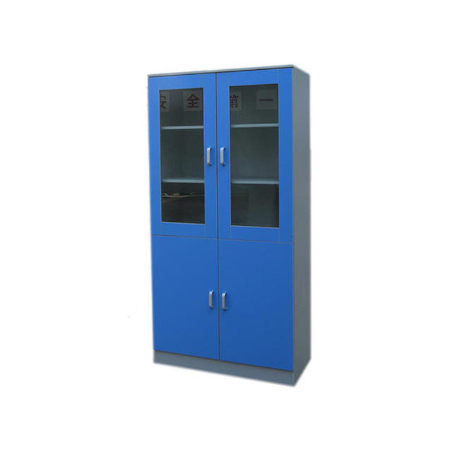 Factory Direct Supply School Laboratory Reagent Storage Cabinet, Lab Steel Glass Door Storage Cabinet/