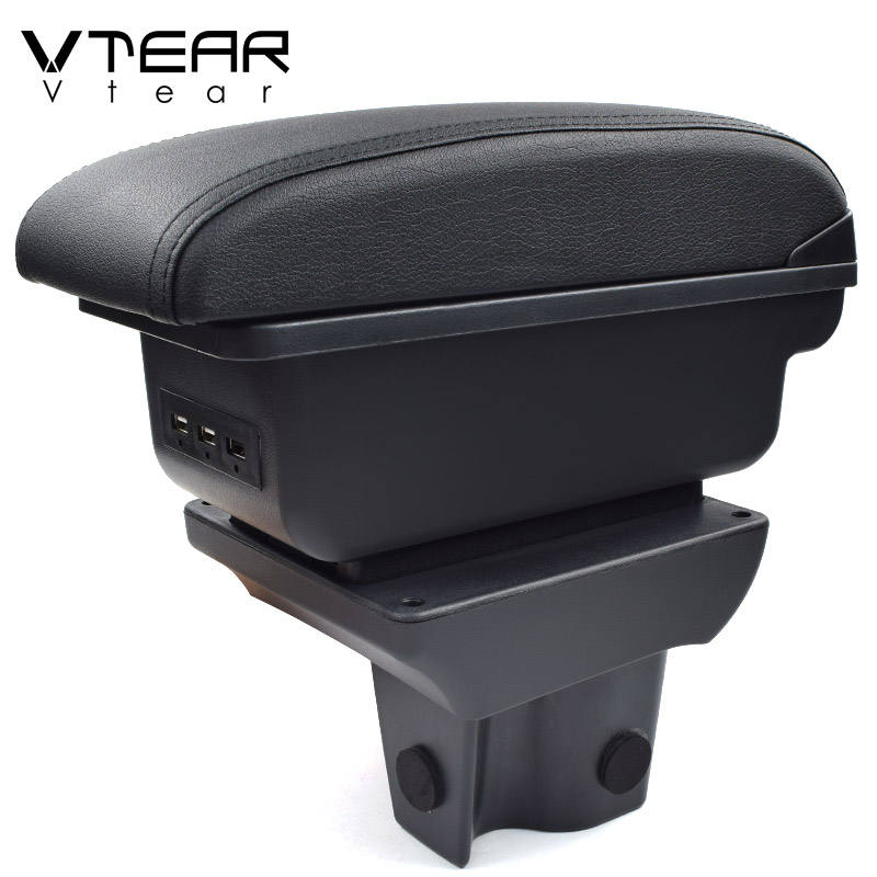 Vtear For Perodua Aruz armrest leather USB interface storage box red thread car-styling interior ABS arm rest accessories 18-20