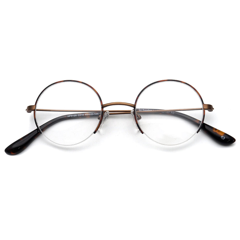 Classic round semi-rimless transparent lens size45-23-145 metal optical glasses