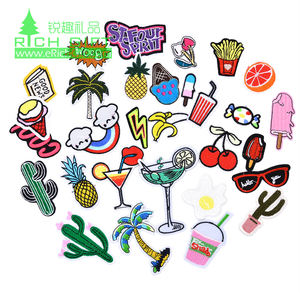Bulk Cheap college fabric iron on 3d stock heat press embroidered patch sequins number letter animals custom embroidery patches