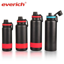 Everich Wide Mouth Insulated Double Walled Vacuum 32oz Stainless Steel Water Bottle with handle lids