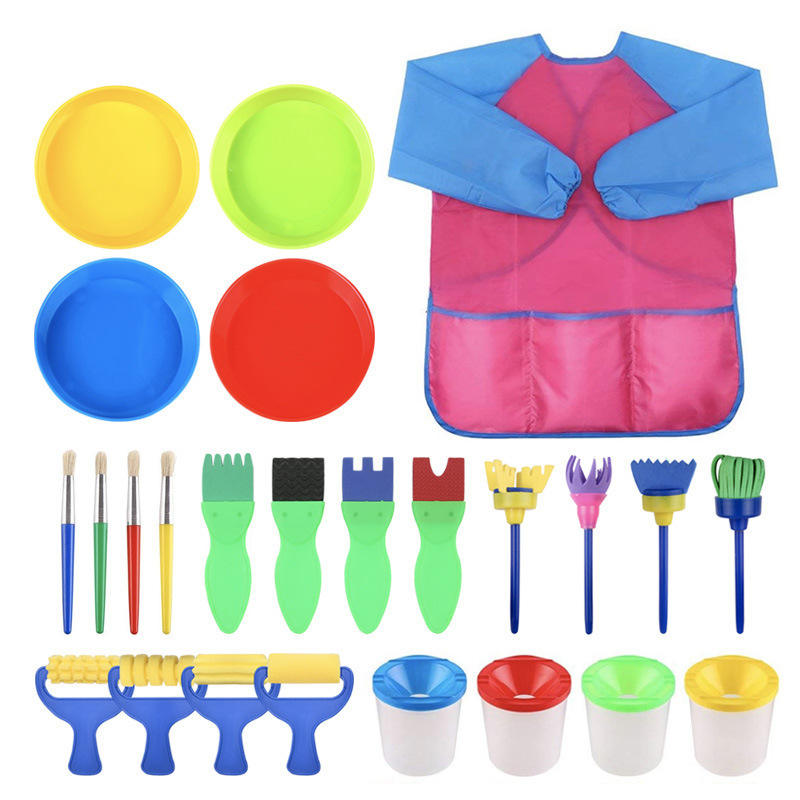 25Pcs Children Kids Art Painting Supplies and Accessories Kit Foam Tipped Brushes Paint Cups Kids Smocks Fun School Craft Tools