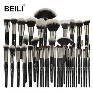 BEILI 40PCS Professional Black Makeup Brushes Set Kits Wood Handle Box Packing Accept Private Label Customize makeup brush set