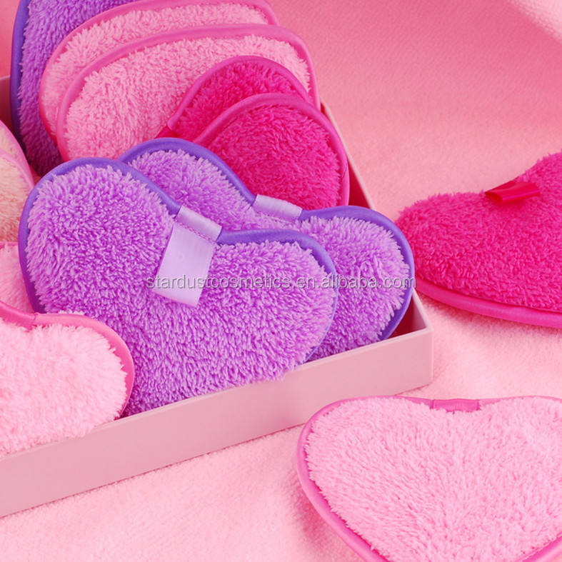 your own logo microfiber cotton makeup remover facial cleaning sponge puff heart shape cleaning sponge