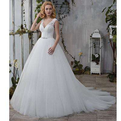 Women Wedding Dress Grace Party Gown Bride V-Neck Full Dress Slim Maxi Dress Gorgeous Ball Gown