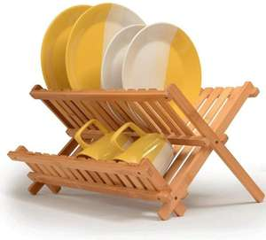 Bamboo Two-Tier Foldable Drying Rack Collapsible Dish Rack Drying Plates Cups Organiser Folding Stand Holder