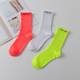 Custom fluorescent color socks original letter Harajuku tube socks basketball sports socks