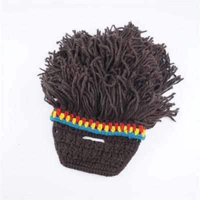 E171 New Arrived Man Winter Warm Wool Hat Funny Bearded Mustache Wig Kini Rasta Knitted Beanie Hats