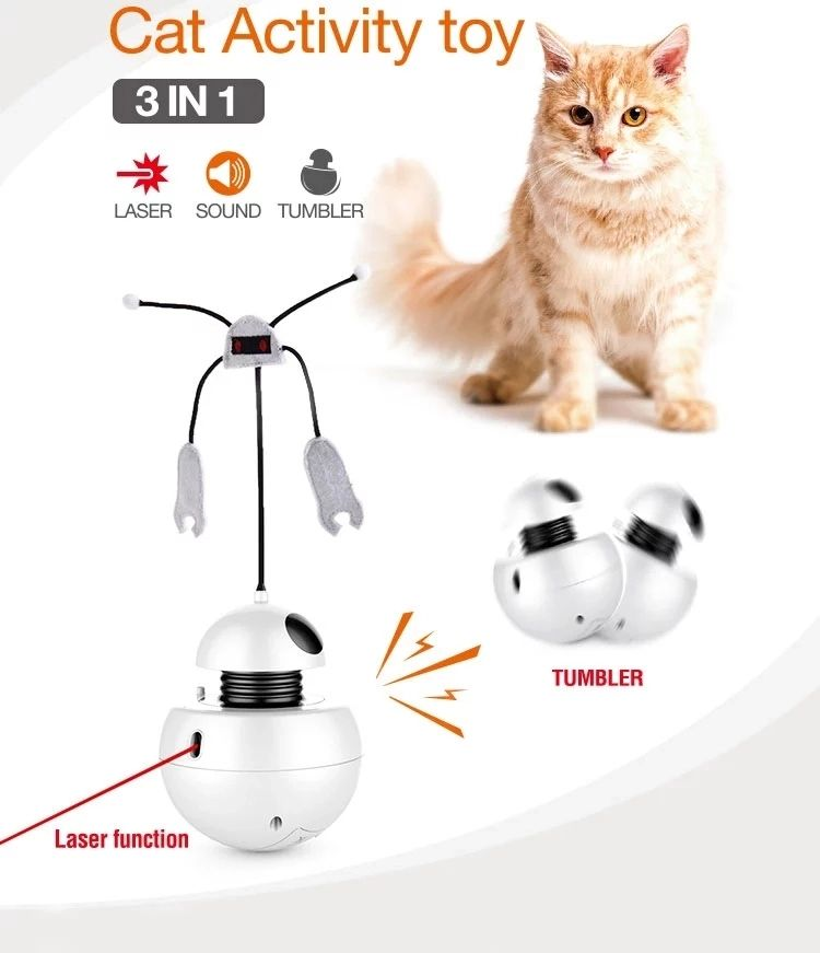 Tianyuan 2019 New Style White Intelligent Robot Battery Smart Electronic Cat Laser Toy