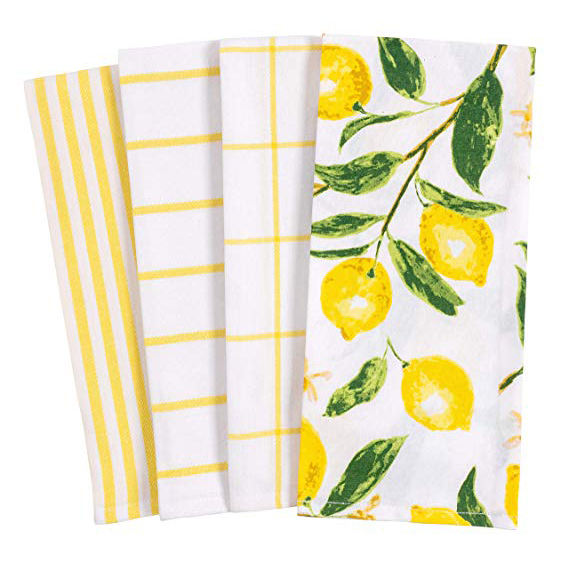 Beautiful lemon pattern cotton kitchen towels printed tea towel