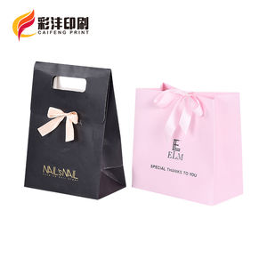 Customized Logo Print Luxury Cosmetic Jewelry Gift Shopping Paper Bag With Handle