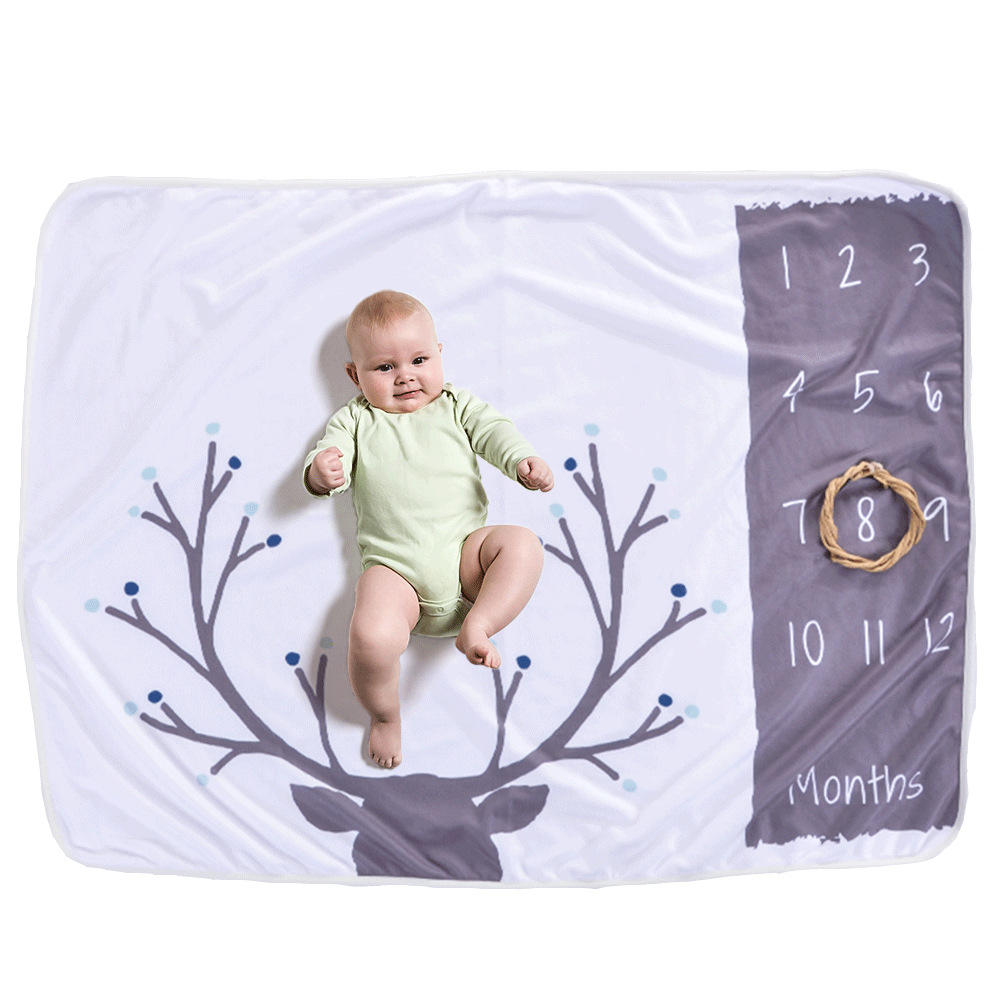 High Quality Super Plush 300gsm Fleece Monthly Baby Milestone Blankets