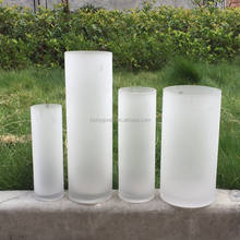LHP076 Hot sale white frosted cylinder glass vase for decoration
