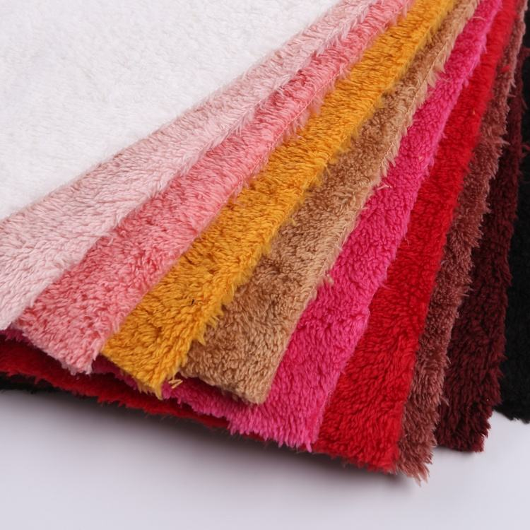 Double brush polyester textiles heavy fleece warp brushed poly soft velour fabric